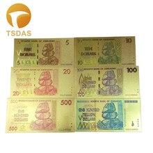 Zimbabwe Full Set 6pcs 999 Pure Gold Banknote 5-100 Trillion Dollars Commemorative 24k Foil Free Shipping