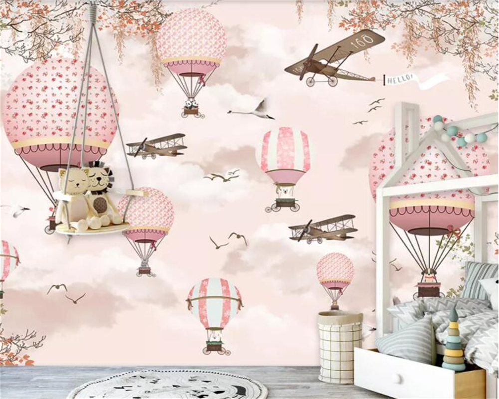Beibehang Wallpaper For Kids Room Sky White Cloud Hot Air Balloon Plane Little Bird Cartoon 3d Wallpaper Mural Papel De Pared
