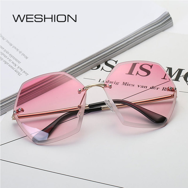0a69a2fee9 Sunglasses Women Rimless Oval Eyeglasses HD Ocean Candy Lens Alloy Frame  Pink Yellow Sun Glasses 2018 Oculos De Sol Feminino