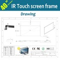 Free Shipping  2 Points 40 inch IR Touch Screen Panel Kit (Without glass)  for Interactive Table, Multi Touch Monitor