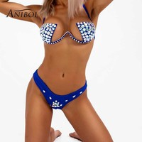 Anibol Hand Sewing Push Up Rhinestone Bikini 2018 Luxury Crystal Women Swimsuit Sexy Brazilian Bling Bling Diamond Swimwear