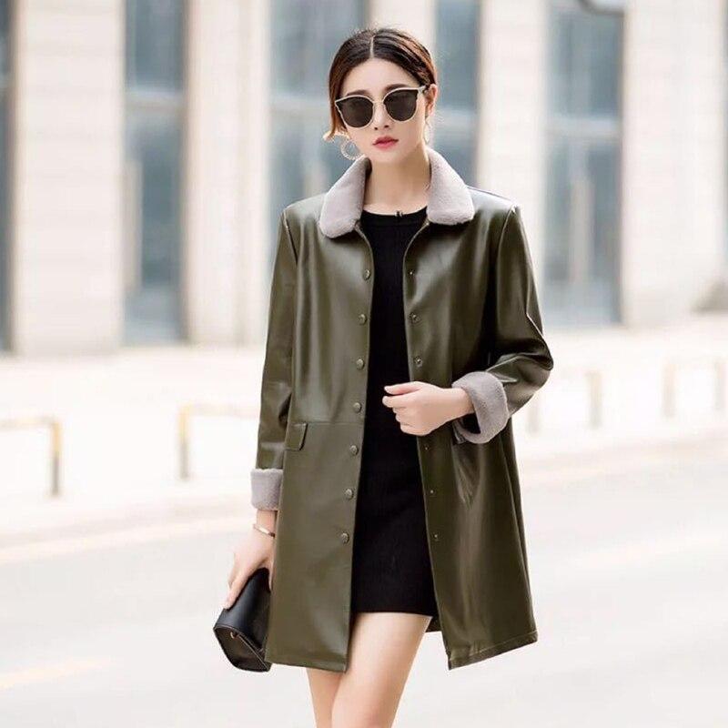 Female Plus Size Medium Syle Fur collar   Leather   Coat thick 2018 New Winter Warm Jacket Women PU   Leather   Coat Female Overcoat