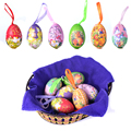 New 6 Piece Hanging  Easter Eggs Party Toy Ornament Paper Chicken Rabbits Eggs for Easter Gift
