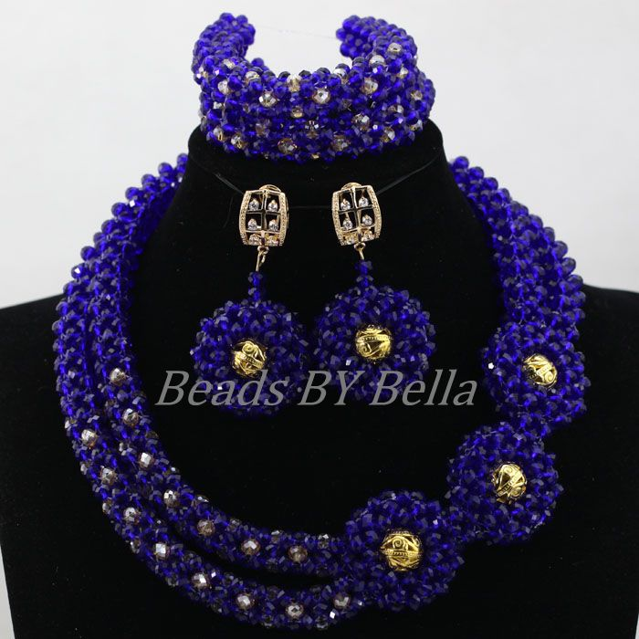 Royal Blue African Costume Jewelry Set Dubai New Necklace Sets Crystal Beads Nigerian Wedding Necklace Set Free Shipping ABL131Royal Blue African Costume Jewelry Set Dubai New Necklace Sets Crystal Beads Nigerian Wedding Necklace Set Free Shipping ABL131