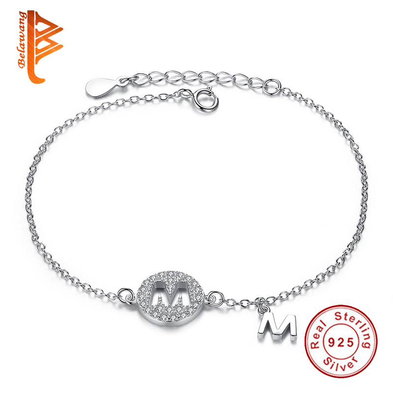 BELAWANG Simple OL Style CZ Micro Pave Chain Bracelets & Bangles 925 Sterling Silver Alphabet Letter M Charm Bracelets For Women