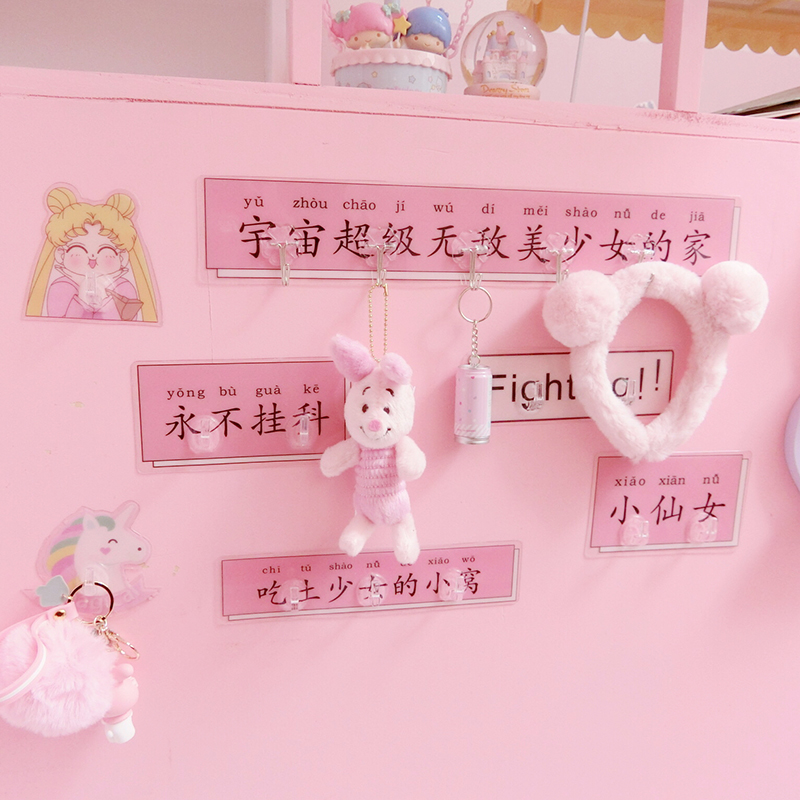 1pc Lovely Cartoon Sailor Moon Creative Waterproof Adhesive Hooks For Walls Suckers Doll House Accessories