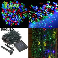 50 M Solar Powered 500 LED Leggiadramente Della Stringa Della Luce Esterna per Natale Natale Festa di Nozze Festa Festival Giardino Decorazione Della Lampada