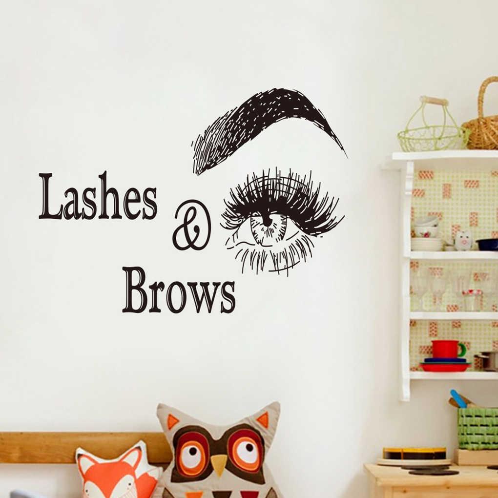 Ресницы и брови Наклейка на стену с логотипом салон красоты украшения ресницы макияж наклейки гостиная ПВХ обои