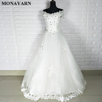 Free Shipping 2017 Latest Korean Fashion Sexy Shoulder Lace Wedding Dresses Large Bride Dresses