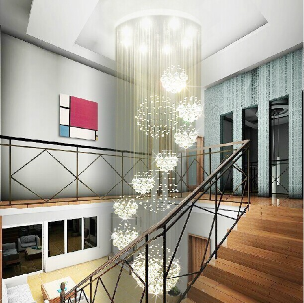 11 ball crystal lamp penthouse floor staircase hall LED lights hanging wire Modern living room crystal chandelier