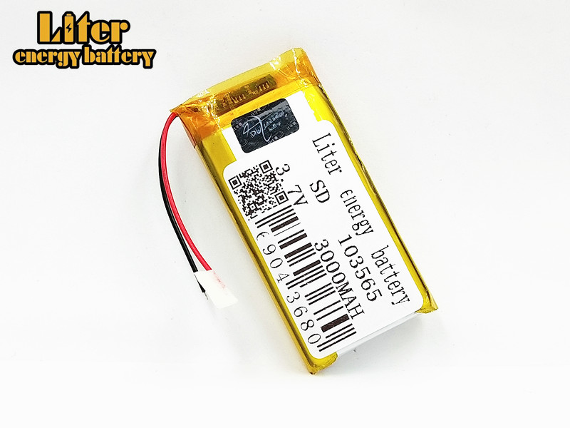 1/2/4Pcs 103565 <font><b>3.7</b></font> <font><b>V</b></font> lithium polymer battery 3000 mah DIY mobile power charging treasure battery For DVD GPS Camera E-book image