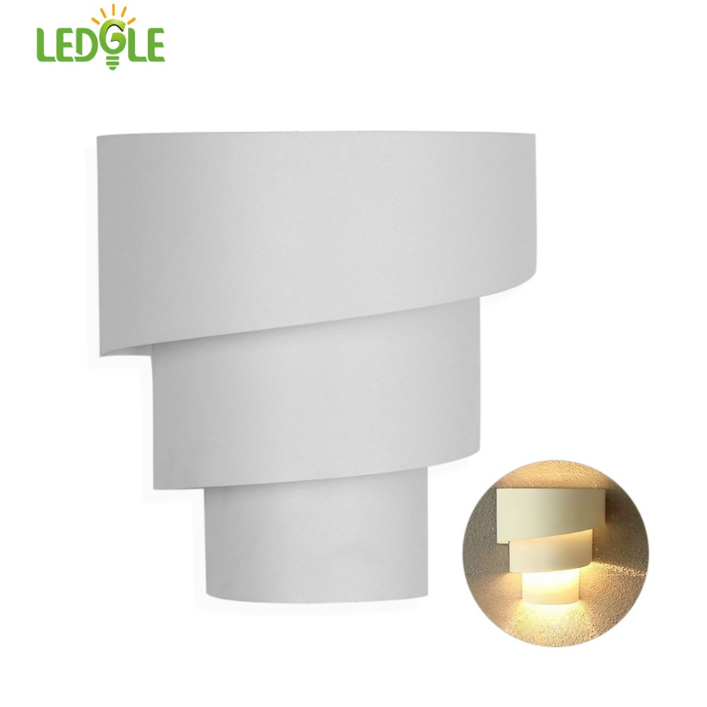 LEDGLE Torch Wall Lamp Iron Wall Light Artistic Wall Lights with E27 Socket, Indoor Use, Sleek Finish, White