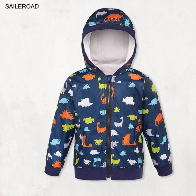 SAILEROAD Dinosaur Print Children Boys Girls Jacket Coat Winter Kids Outerwear Clothes Waterproof Windproof Baby Boys's Clothing