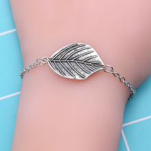 Fashion Vintage Metal Jewelry Personality Silver Leaf Bracelet Girl Trend Plant Simple Student Gift