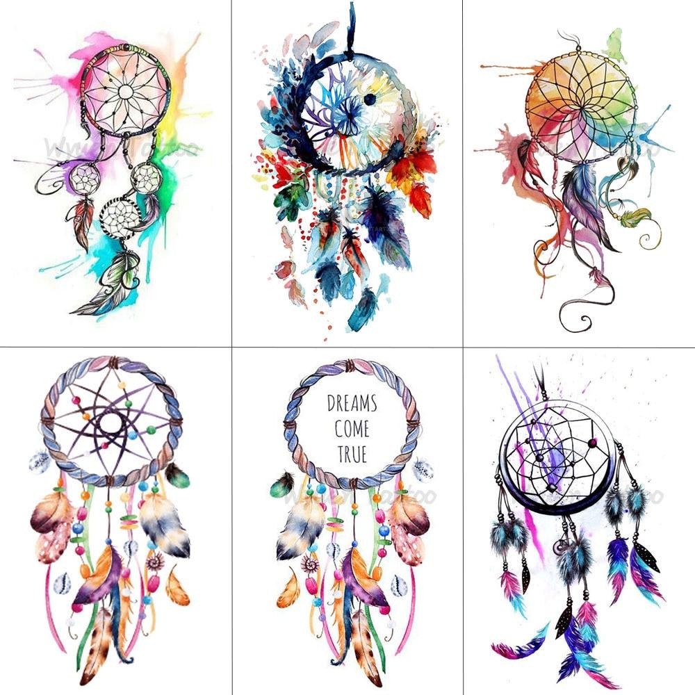 HXMAN Dreamcatcher Temporary Fake Tattoo Body Art Sticker Waterproof Women Fashion Hand Tattoo Sticker For Kids 9.8X6cm T-006