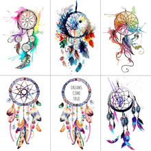 WYUEN Dreamcatcher Temporary Fake Tattoo Body Art Sticker Waterproof Women Fashion Hand for Kids 9.8X6cm T-006