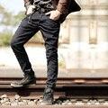Preto magro das calças de brim dos homens 2016 Nova moda rasgado calças de brim dos homens magro fit calças basculador casuais esticar calças jeans para homens famosa marca