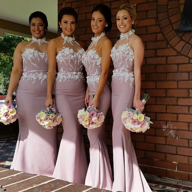 Dusty Rose Pink Mermaid Bridesmaid Dresses Halter With Flowers Satin Long Plus Size Wedding Maid
