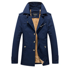 2018 Winter Jacket For Men Fashion Trench Warm Coats Plus Velvet Male Turn Down Collar Long