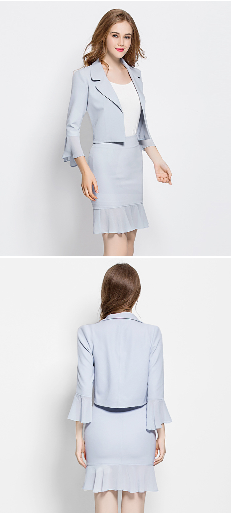 Women Elegant Cute Spring Skirt Suit Wear To Work Office Business career OL Jacket blazer & Skirts Suit 2 Piece Sets 005