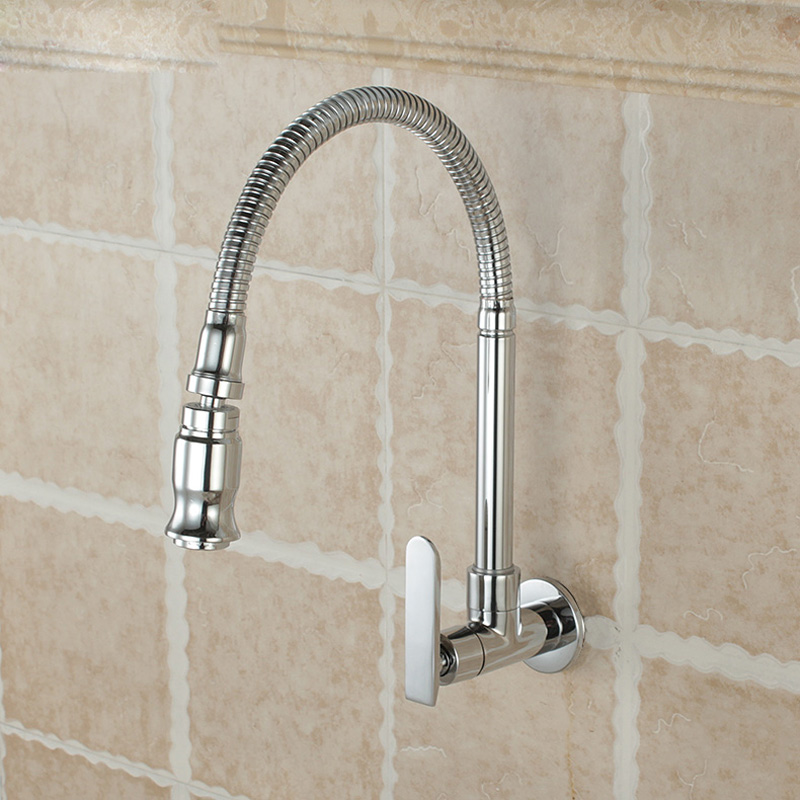 Free Shipping Chrome Single Handle Kitchen Faucet Cold Water Faucet Wall Mounted Brass Kitchen Taps