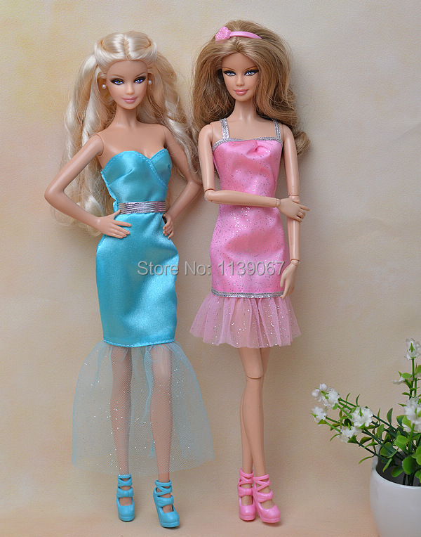 2Sets/lot Gown + Sneakers / 2015 New Design Unique Blue & Pink Occasion Robe Garments Outfit For 1/6 Kurhn Barbie Doll Birthday Reward