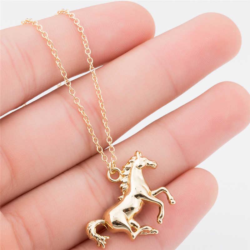 Yiustar Gold Farbe Wilden Solide Pferd Halskette Frauen Vintage Tier Anhänger Halsketten Für Mädchen Beste Freund Einzigartige Liebe Geschenk