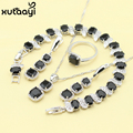 Women Four Piece Black Imitation Sapphire Fashion 925 Silver Jewelry Sets Angelic Necklace Ring Earring Bracelet Free Box