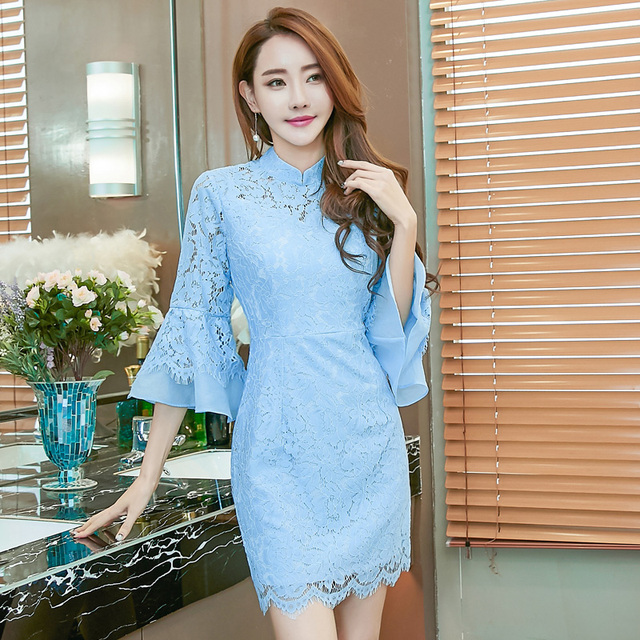 38c050fe71aa blue dress lace cheongsam off white belt maio kim kardashian club korean  kawaii modis midi dress roupas robe longue wrap dress