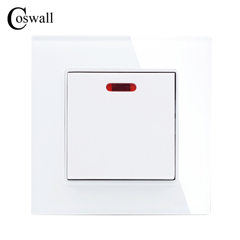 цена на COSWALL 20A Switch With Neon Crystal Glass Panel Kitchen Water Heater Push Button Wall Switch Air Condition Interruptor