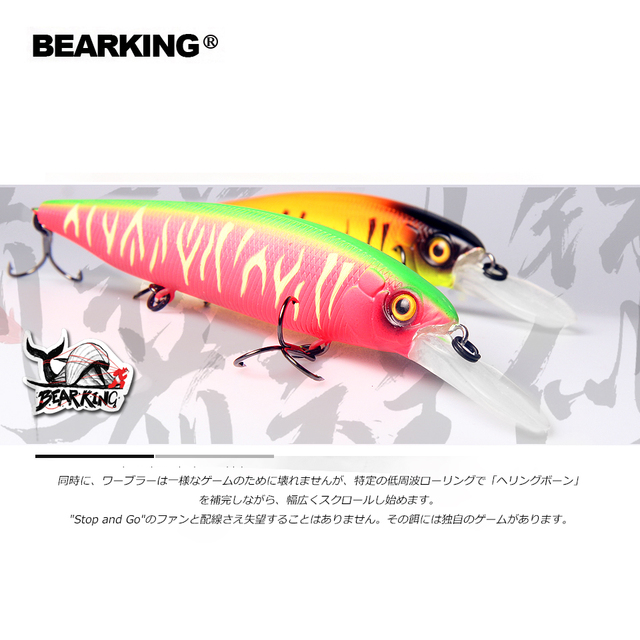 Cheap 2019 Bearking M116 Hard Fishing Lures Minnow 115mm 18g quality Baits Deep Diving Wobblers Fishing Tackles Free shipping