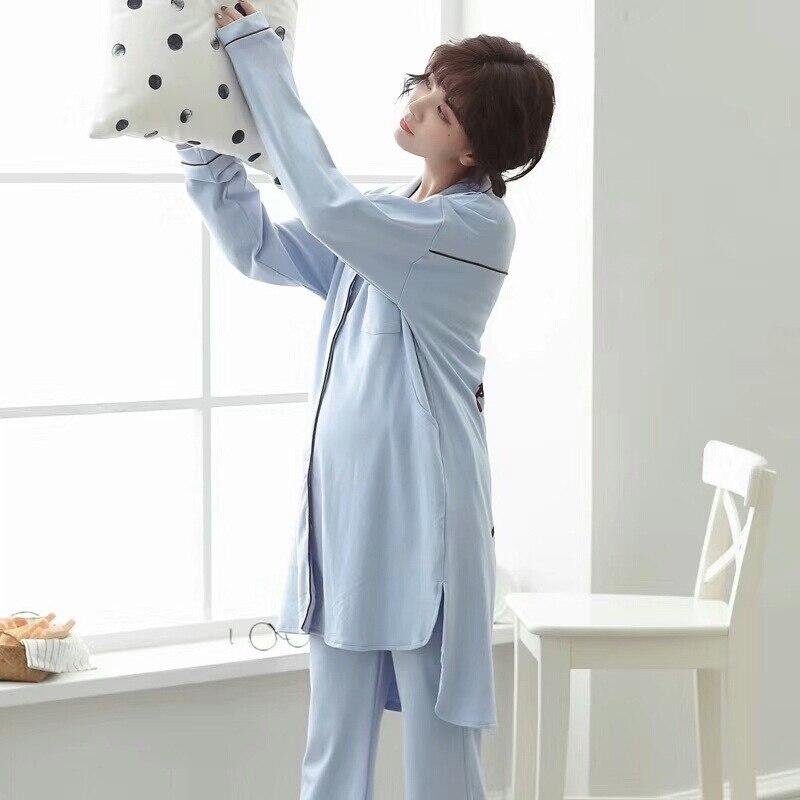 Casual Cotton Sleep Lounge Pregnant Women With Breast-feeding Pajamas Sets Yukata Bathrobe Nightgown Sleepwear Homewear Pyjamas