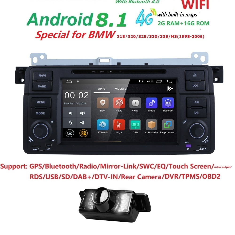 2G+16G 7inch QuadCore Android8.1 2DIN car DVD Monitor radio for BMW E46 Audio Video DVBT WiFi 4G USB,SD,Cam-in OBD2 SWC DVR DAB+