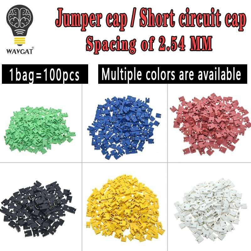 100 sztuk Pitch jumper zwarte czapka i nagłówków i obudowy przewodów 2.54MM bocznik czarny żółty biały zielony czerwony niebieski