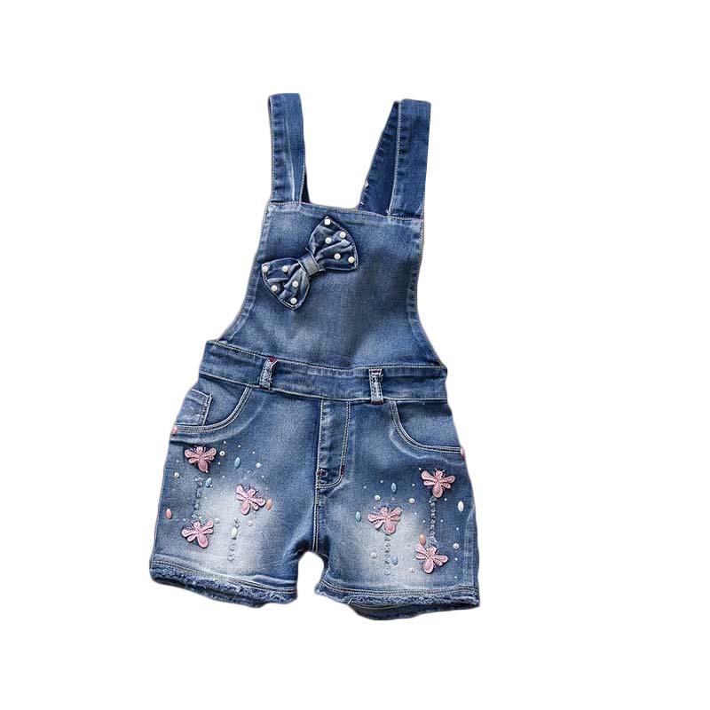 2018 Frühling Sommer Uns Stil Mädchen Overall Nette Süße Mode Gewaschen Jeans Denim Romper Overalls Straps Kurze Hosen Cowboy Blau