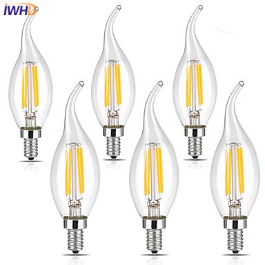 IWHD 6pcs E14 LED Filament Bulb 4W Vintage Lamp Light LED Bulbs 4W 110V-220V Edison Bulb Retro Lamp Ampul Industrial Decorative