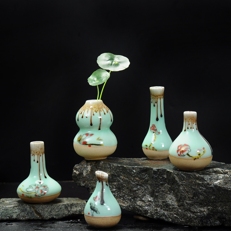 5 PCS/LOT Vintage Longquan Celadon Vase en céramique poterie et porcelaine fleur Vase ornement décor à la maison hydroponique fleuron bouteille