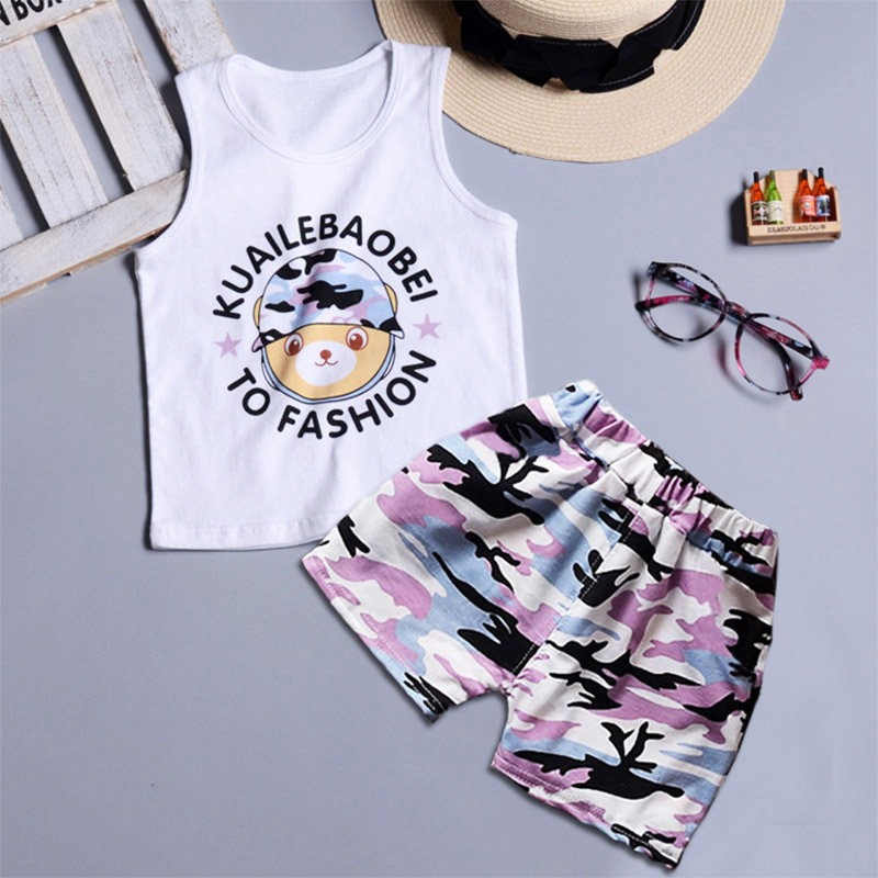 SK Brand 3T-7T Cute Pattern Boys Clothing Sets 2018 Summer Children Clothing Vest+Shorts Boys Girls Clothes Sports Suit for B