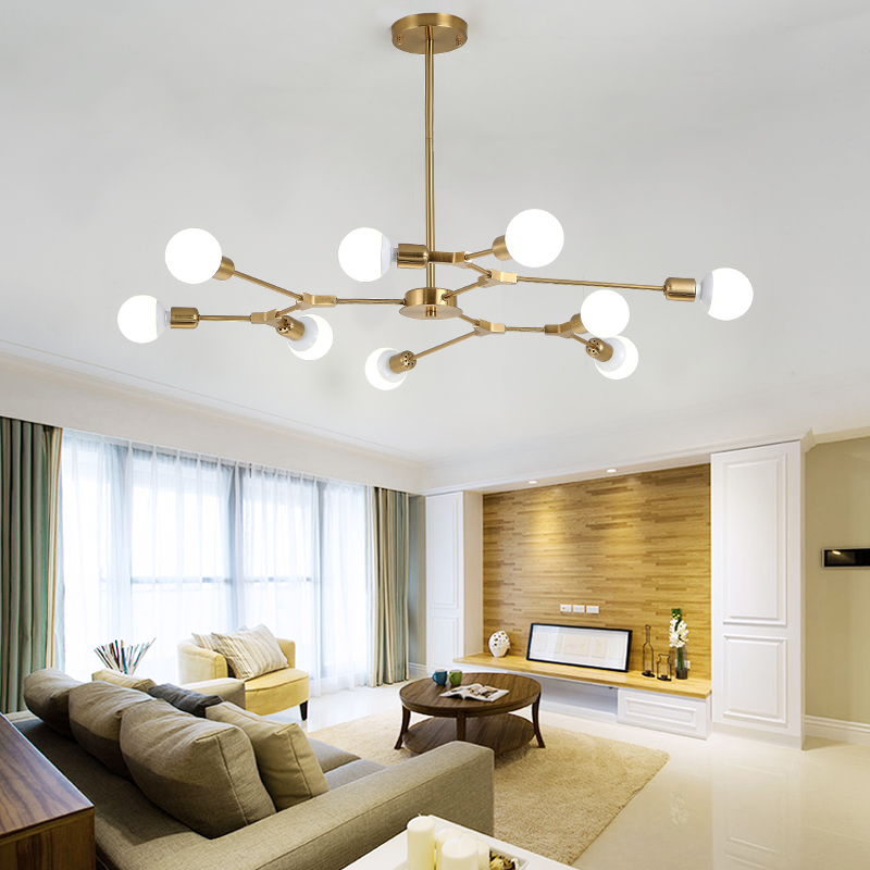 LED chandelier Led chandelier living room lamp modern minimalist design molecular lamp bedroom restaurant personality creative chinese modern creative lamp lift shrink mahjong chess room chandelier wood chandelier restaurant lamp