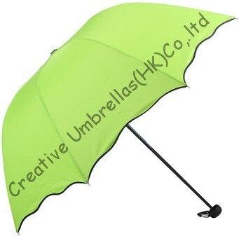 Parapluies de fleurs d'eau, pongé 190 T, crème solaire 100%, changement de couleur, parapluies manuels de forme arquée, trois fois, parasols princesse