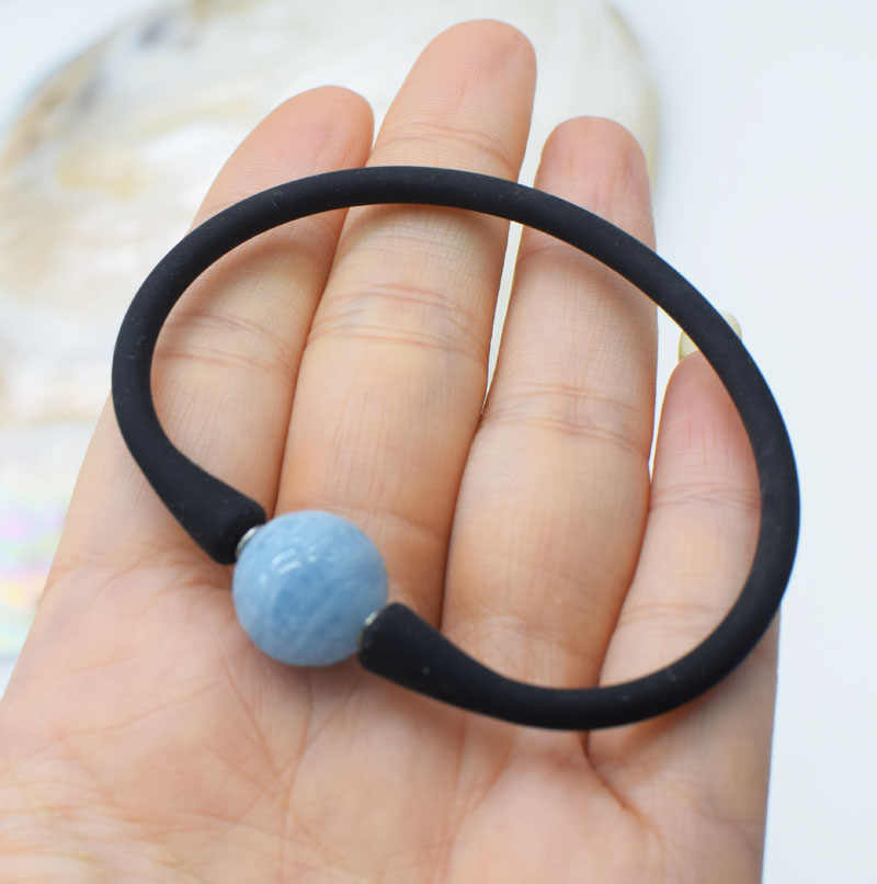 Aquamarine  blue  carved round 14mm  and black silicone  nature 7.5inch FPPj wholesale beads good quality