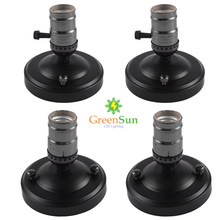 GreenSun 4Pcs Pearl Black Lamp Base E27/E26 Aluminum Retro Edison Ceiling Screw Light Lamp Bulb Socket Holder With Switch(China)