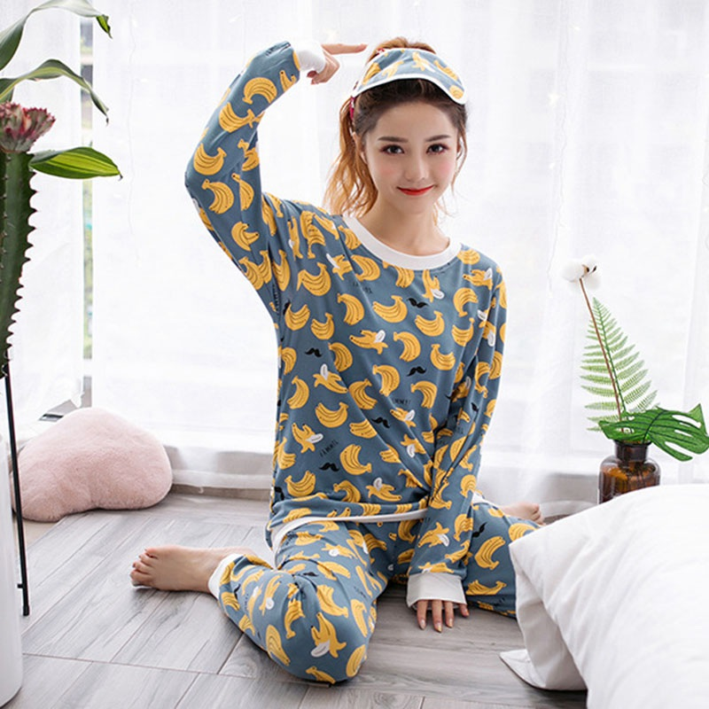 Womens Pajamas Sets With Blinder Banana Animal Cartoon Print Girl Sleepwear Long Sleeve Suit Women Pijamas For Home Pyjama Femme