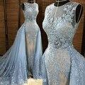 2016 Nuevo Cielo Azul Tulle Del Applique Del Cordón Desmontable Tren vestido de Bola Formal de la Tarde Vestidos Para Fiesta De Boda Por Encargo