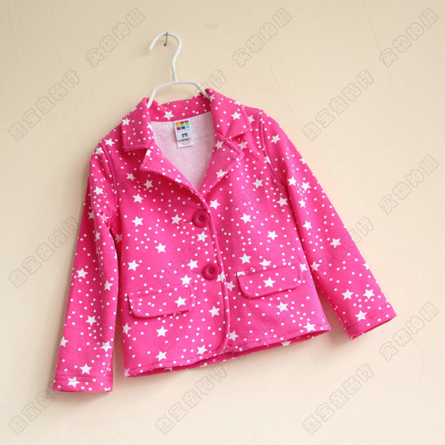 New Baby Small suit Girls All over sky star hot pink suit Terry children's coat Wholesale