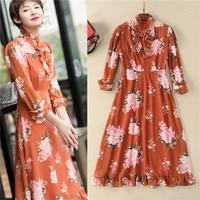 runway high quality women dresses 2018 chiffon brick red floral print 3/4 sleeve mid calf elegant dress sexi polyester size xl
