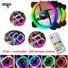 Aigo RGB Fan 120mm Cooler Computer Fan LED Dual Ring Multicolor Fans AR PC Remote Control