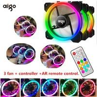 Aigo RGB fan 120mm cooler Computer fan LED Dual Ring Multicolor Fans AR PC Remote Control DR12 LED Quiet Fan