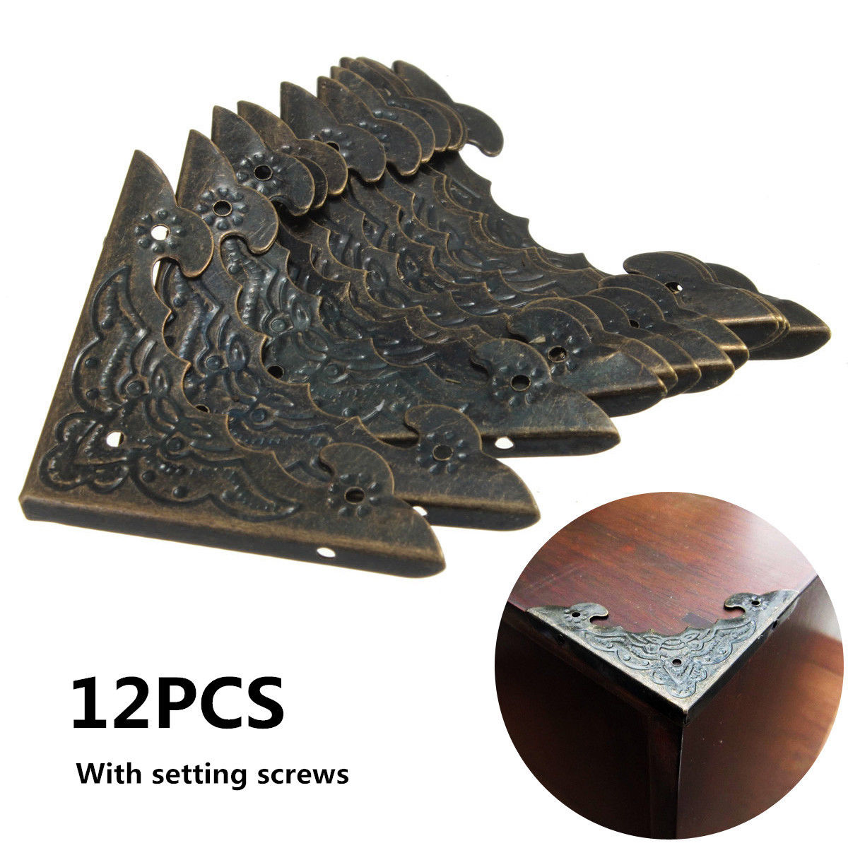 12pcs Antique Brass Jewelry Chest Wine Case Flowers And Birds Wooden Box Decorative Feet Leg Desk Table Corner Protector Guard