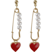 wholesale 10 pair / lot fashion jewelry high quality gold metal pearl safety pin red heart korean earrings(China)